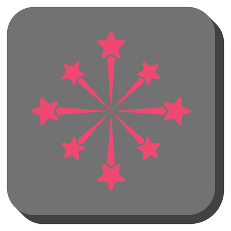salute: Star Burst Fireworks square icon. Vector pictograph style is a flat symbol on a rounded square button, pink and gray colors.