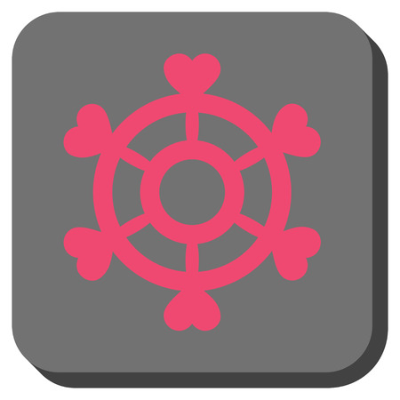 Lovely Boat Steering Wheel square button. Vector pictograph style is a flat symbol in a rounded square button, pink and gray colors.