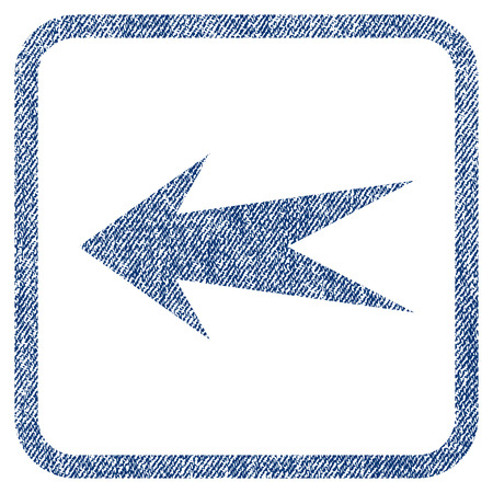 before: Arrow Left vector textured icon for overlay watermark stamps. Blue jeans fabric vectorized texture. Symbol with dust design inside rounded rectangular frame. Illustration