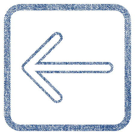 before: Arrow Left vector textured icon for overlay watermark stamps. Blue jeans fabric vectorized texture. Symbol with unclean design inside rounded rectangular frame. Illustration