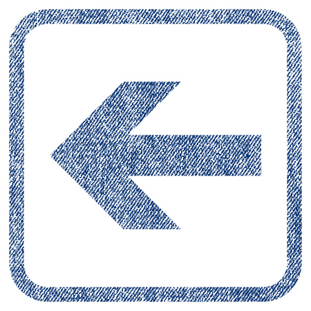 before: Arrow Left vector textured icon for overlay watermark stamps. Blue jeans fabric vectorized texture. Symbol with dirty design inside rounded rectangular frame.