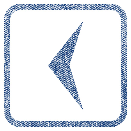 before: Arrowhead Left vector textured icon for overlay watermark stamps. Blue jeans fabric vectorized texture. Symbol with dust design inside rounded rectangular frame. Illustration