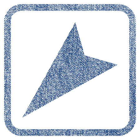 southwest: Arrowhead Left-Down vector textured icon for overlay watermark stamps. Blue jeans fabric vectorized texture. Symbol with scratched design inside rounded rectangular frame.