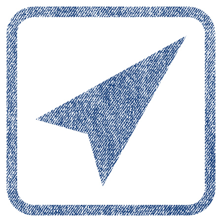 penetrating: Arrowhead Right-Up vector textured icon for overlay watermark stamps. Blue jeans fabric vectorized texture. Symbol with dirty design inside rounded rectangular frame.