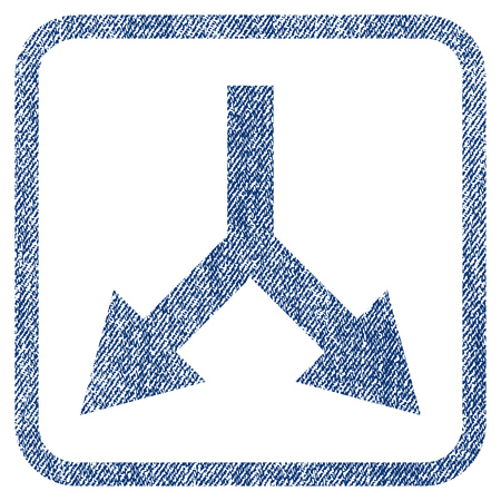 bifurcation: Bifurcation Arrow Down vector textured icon for overlay watermark stamps. Blue jeans fabric vectorized texture. Symbol with dirty design inside rounded rectangular frame.