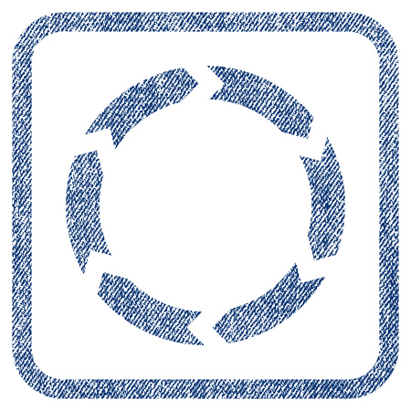 circling: Circulation vector textured icon for overlay watermark stamps. Blue jeans fabric vectorized texture. Symbol with scratched design inside rounded rectangular frame.
