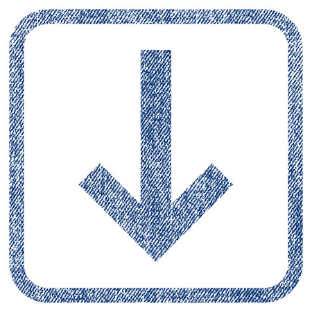 minimize: Down Arrow vector textured icon for overlay watermark stamps. Blue jeans fabric vectorized texture. Symbol with dirty design inside rounded rectangular frame.