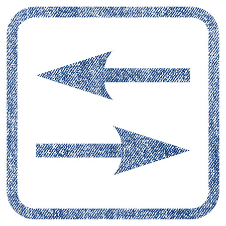 inverse: Horizontal Exchange Arrows vector textured icon for overlay watermark stamps. Blue jeans fabric vectorized texture. Symbol with scratched design inside rounded rectangle.