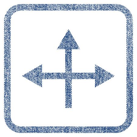 bifurcation: Intersection Directions vector textured icon for overlay watermark stamps. Blue jeans fabric vectorized texture. Symbol with unclean design inside rounded rectangle.