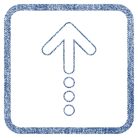 Send Up vector textured icon for overlay watermark stamps. Blue jeans fabric vectorized texture. Symbol with scratched design inside rounded rectangular frame. Illustration
