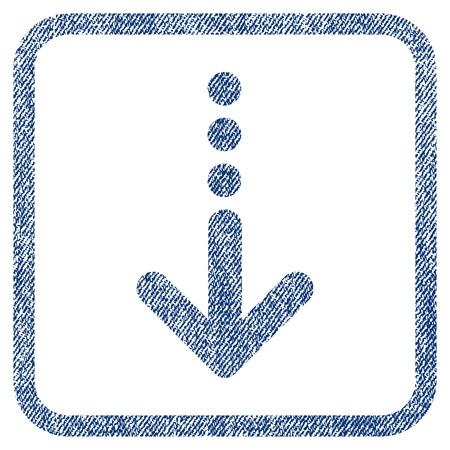 moving down: Send Down vector textured icon for overlay watermark stamps. Blue jeans fabric vectorized texture. Symbol with unclean design inside rounded rectangular frame.