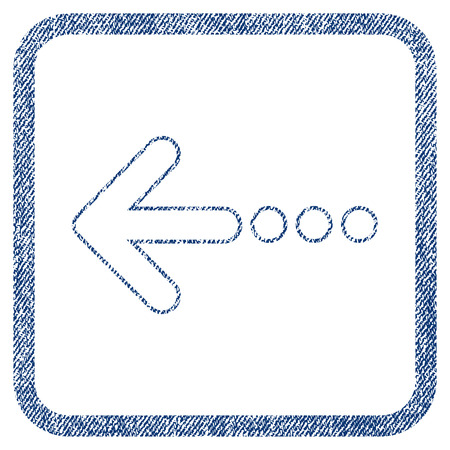 before: Send Left vector textured icon for overlay watermark stamps. Blue jeans fabric vectorized texture. Symbol with dust design inside rounded rectangle. Illustration