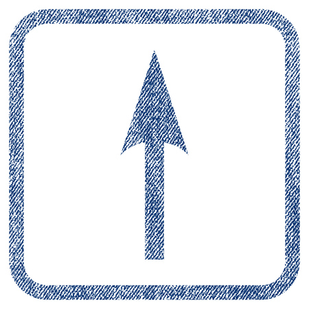 Sharp Arrow Up vector textured icon for overlay watermark stamps. Blue jeans fabric vectorized texture. Symbol with scratched design inside rounded rectangular frame.