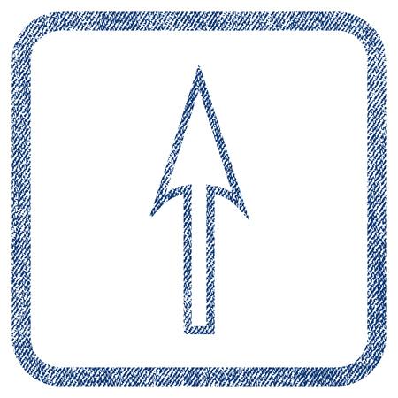 Sharp flèche icône vecteur texturé pour les tampons de filigrane de superposition. Tissu bleu jeans vectorisé texture. Symbole avec un design impur à l'intérieur d'un rectangle arrondi.