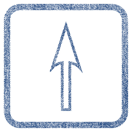 Sharp Arrow Up vector textured icon for overlay watermark stamps. Blue jeans fabric vectorized texture. Symbol with unclean design inside rounded rectangle.