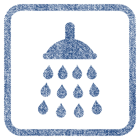 Shower vector textured icon for overlay watermark stamps. Blue jeans fabric vectorized texture. Symbol with scratched design inside rounded rectangle. Illustration