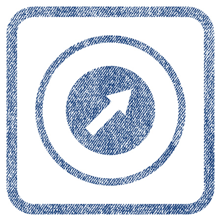 northeast: Up-Right Rounded Arrow vector textured icon for overlay watermark stamps. Blue jeans fabric vectorized texture. Symbol with dirty design inside rounded rectangle. Illustration