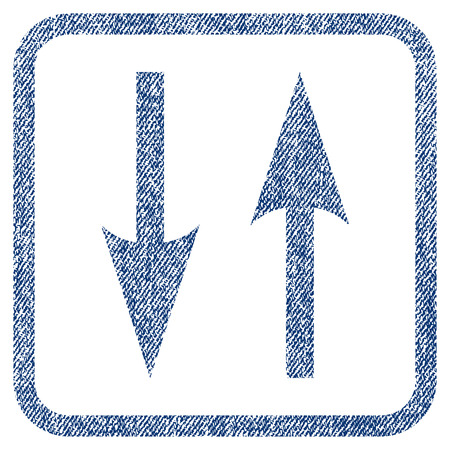 inverse: Vertical Exchange Arrows vector textured icon for overlay watermark stamps. Blue jeans fabric vectorized texture. Symbol with dust design inside rounded rectangular frame.
