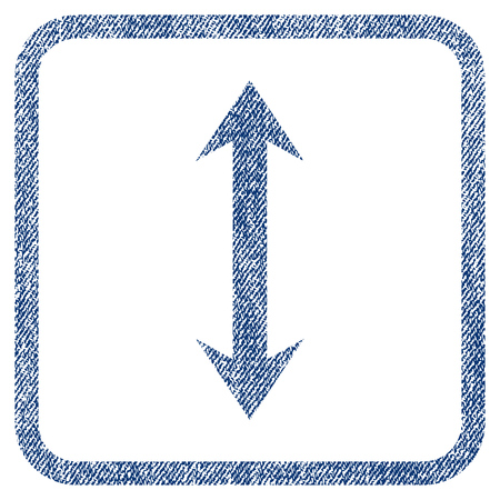 inverse: Vertical Flip vector textured icon for overlay watermark stamps. Blue jeans fabric vectorized texture. Symbol with scratched design inside rounded rectangle.
