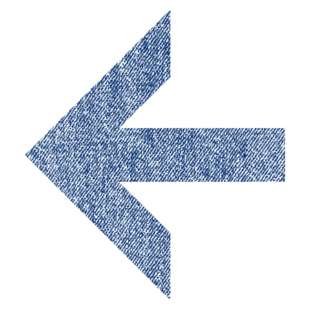 before: Arrow Left vector textured icon for overlay watermark stamps. Blue jeans fabric vectorized texture. Symbol with scratched design. Blue ink rubber seal stamp with fiber textile structure.