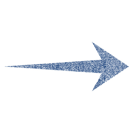 Arrow Right vector textured icon for overlay watermark stamps. Blue jeans fabric vectorized texture. Symbol with dust design. Blue ink rubber seal stamp with fiber textile structure.