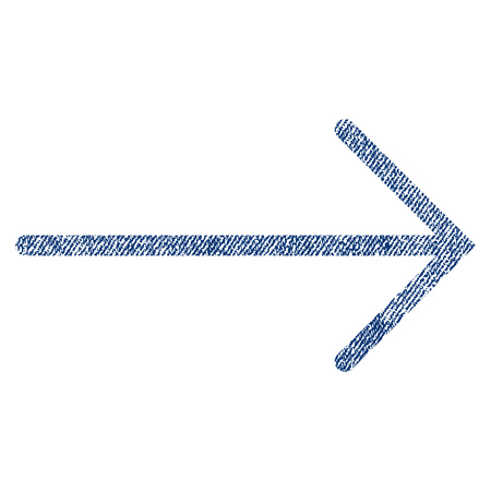 proceed: Arrow Right vector textured icon for overlay watermark stamps. Blue jeans fabric vectorized texture. Symbol with dust design. Blue ink rubber seal stamp with fiber textile structure.