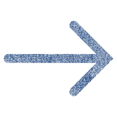 redo: Arrow Right vector textured icon for overlay watermark stamps. Blue jeans fabric vectorized texture. Symbol with dust design. Blue ink rubber seal stamp with fiber textile structure.