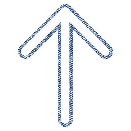 Icône flèche texturée de vecteur pour les tampons de filigrane de superposition. Tissu bleu jeans vectorisé texture. Symbole avec design rayé. Tampon encreur bleu avec structure textile en fibres.