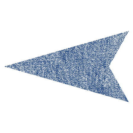 before: Arrowhead Left vector textured icon for overlay watermark stamps. Blue jeans fabric vectorized texture. Symbol with scratched design. Blue ink rubber seal stamp with fiber textile structure. Illustration