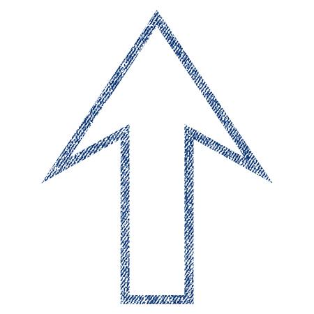 Flèche vers le haut de vecteur texturé icône pour les timbres de filigrane de superposition. Blue jeans tissu texture vectorisée. Symbole avec un design sale. Timbre de joint en caoutchouc encre bleue avec structure textile en fibre.