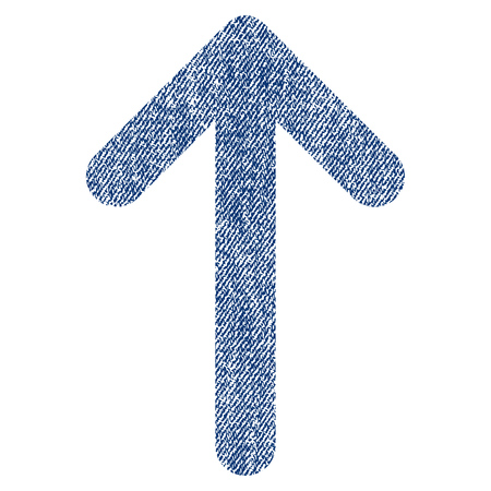 Arrow Up vector textured icon for overlay watermark stamps. Blue jeans fabric vectorized texture. Symbol with scratched design. Blue ink rubber seal stamp with fiber textile structure. Illustration