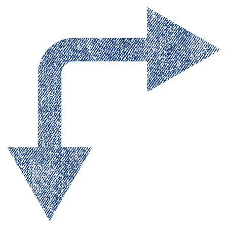 bifurcation: Bifurcation Arrow Right Down vector textured icon for overlay watermark stamps. Blue jeans fabric vectorized texture. Symbol with scratched design.