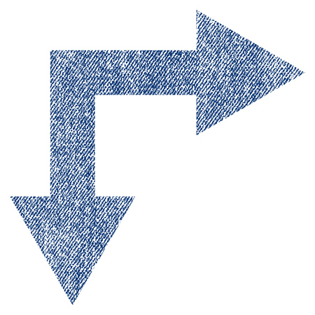 Bifurcation Arrow Right Down vector textured icon for overlay watermark stamps. Blue jeans fabric vectorized texture. Symbol with dust design. Blue ink rubber seal stamp with fiber textile structure. Illustration