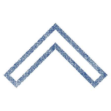 Arrowhead Up vector textured icon for overlay watermark stamps. Blue jeans fabric vectorized texture. Symbol with dust design. Blue ink rubber seal stamp with fiber textile structure.