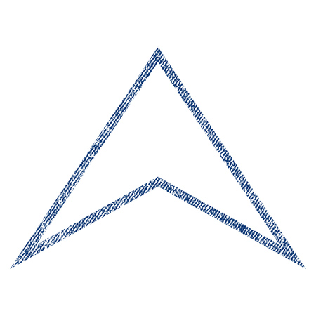 Arrowhead Up vector textured icon for overlay watermark stamps. Blue jeans fabric vectorized texture. Symbol with scratched design. Blue ink rubber seal stamp with fiber textile structure. Illustration