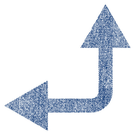 bifurcation: Bifurcation Arrow Left Up vector textured icon for overlay watermark stamps. Blue jeans fabric vectorized texture. Symbol with dirty design. Blue ink rubber seal stamp with fiber textile structure.