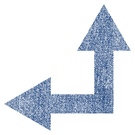Bifurcation Arrow Left Up vector textured icon for overlay watermark stamps. Blue jeans fabric vectorized texture. Symbol with unclean design. Blue ink rubber seal stamp with fiber textile structure.