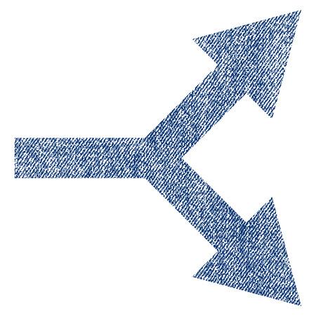 Flecha de bifurcación Vector derecho icono con textura para sellos de marca de agua de recubrimiento. Tela azul jeans textura vectorizada. Símbolo con diseño sucio. Sello de goma de tinta azul con estructura textil de fibra.