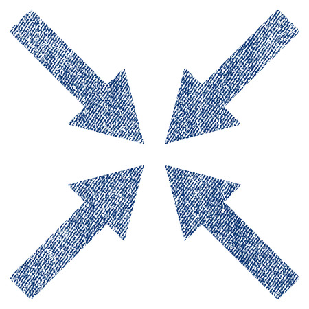 minimize: Center Arrows vector textured icon for overlay watermark stamps. Blue jeans fabric vectorized texture. Symbol with unclean design. Blue ink rubber seal stamp with fiber textile structure.