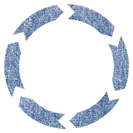circling: Circulation vector textured icon for overlay watermark stamps. Blue jeans fabric vectorized texture. Symbol with dust design. Blue ink rubber seal stamp with fiber textile structure.