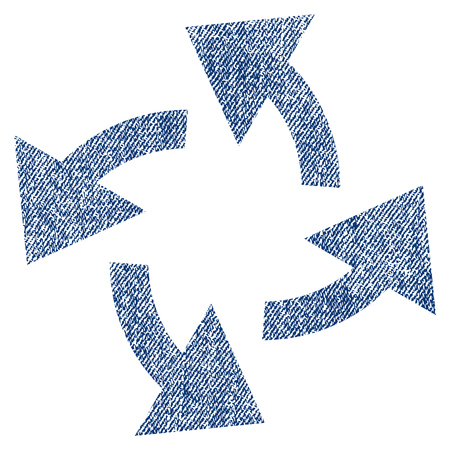 radiating: Centrifugal Arrows vector textured icon for overlay watermark stamps. Blue jeans fabric vectorized texture. Symbol with dust design. Blue ink rubber seal stamp with fiber textile structure.