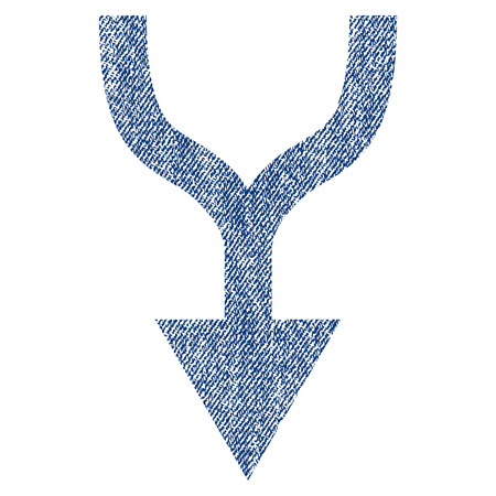 Combine Arrow Down vector textured icon for overlay watermark stamps. Blue jeans fabric vectorized texture. Symbol with unclean design. Blue ink rubber seal stamp with fiber textile structure.