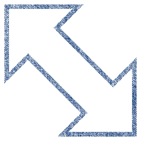 inverse: Exchange Diagonal vector textured icon for overlay watermark stamps. Blue jeans fabric vectorized texture. Symbol with unclean design. Blue ink rubber seal stamp with fiber textile structure.