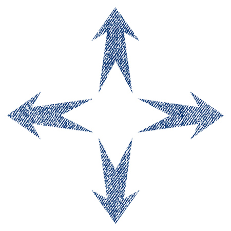 Expand Arrows vector textured icon for overlay watermark stamps. Blue jeans fabric vectorized texture. Symbol with dirty design. Blue ink rubber seal stamp with fiber textile structure. Illustration