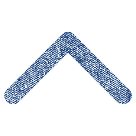 Direction Up vector textured icon for overlay watermark stamps. Blue jeans fabric vectorized texture. Symbol with dust design. Blue ink rubber seal stamp with fiber textile structure.