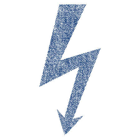 high voltage symbol: High Voltage vector textured icon for overlay watermark stamps. Blue jeans fabric vectorized texture. Symbol with scratched design. Blue ink rubber seal stamp with fiber textile structure. Illustration