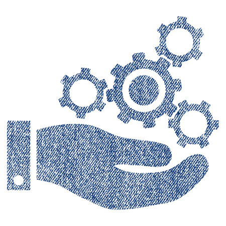 Mechanics Service vector textured icon for overlay watermark stamps. Blue jeans fabric vectorized texture. Symbol with dust design. Blue ink rubber seal stamp with fiber textile structure.