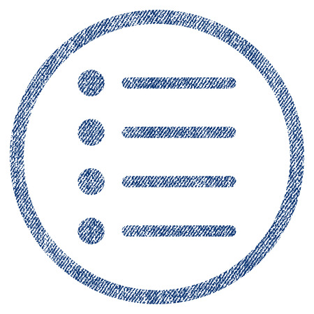 numerate: Items vector textured icon for overlay watermark stamps. Blue jeans fabric vectorized texture. Symbol with dust design. Blue ink rubber seal stamp with fiber textile structure.