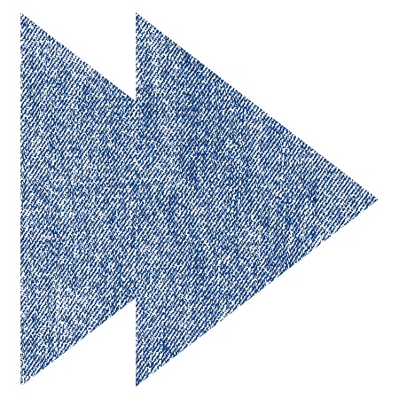 Move Right vector textured icon for overlay watermark stamps. Blue jeans fabric vectorized texture. Symbol with scratched design. Blue ink rubber seal stamp with fiber textile structure.