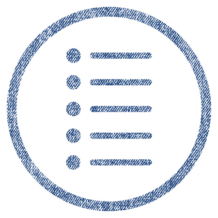 nomenclature: Items vector textured icon for overlay watermark stamps. Blue jeans fabric vectorized texture. Symbol with scratched design. Blue ink rubber seal stamp with fiber textile structure.